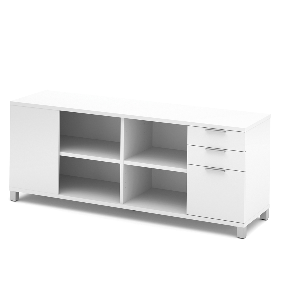 Pro Linea Credenza With Three Drawers In White