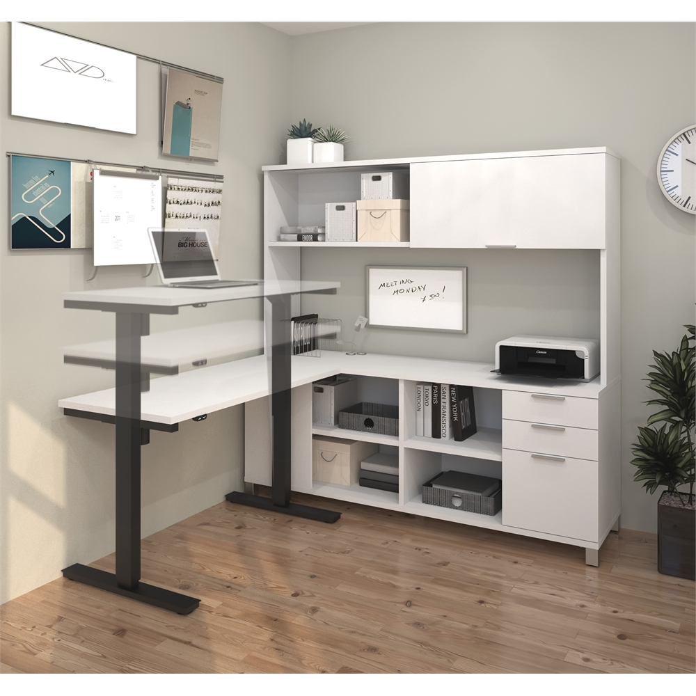 Pro Linea L Desk With Hutch Including Electric Height