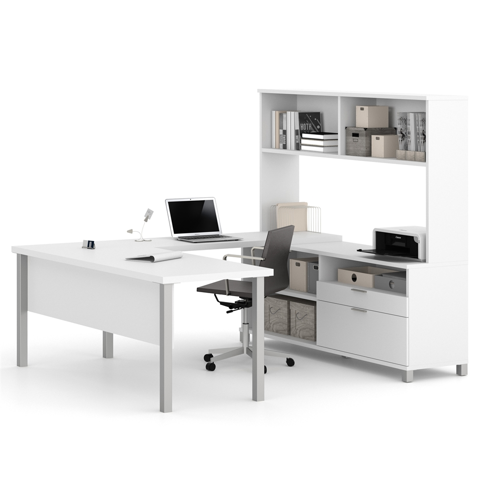 Pro Linea U Desk With Hutch In White