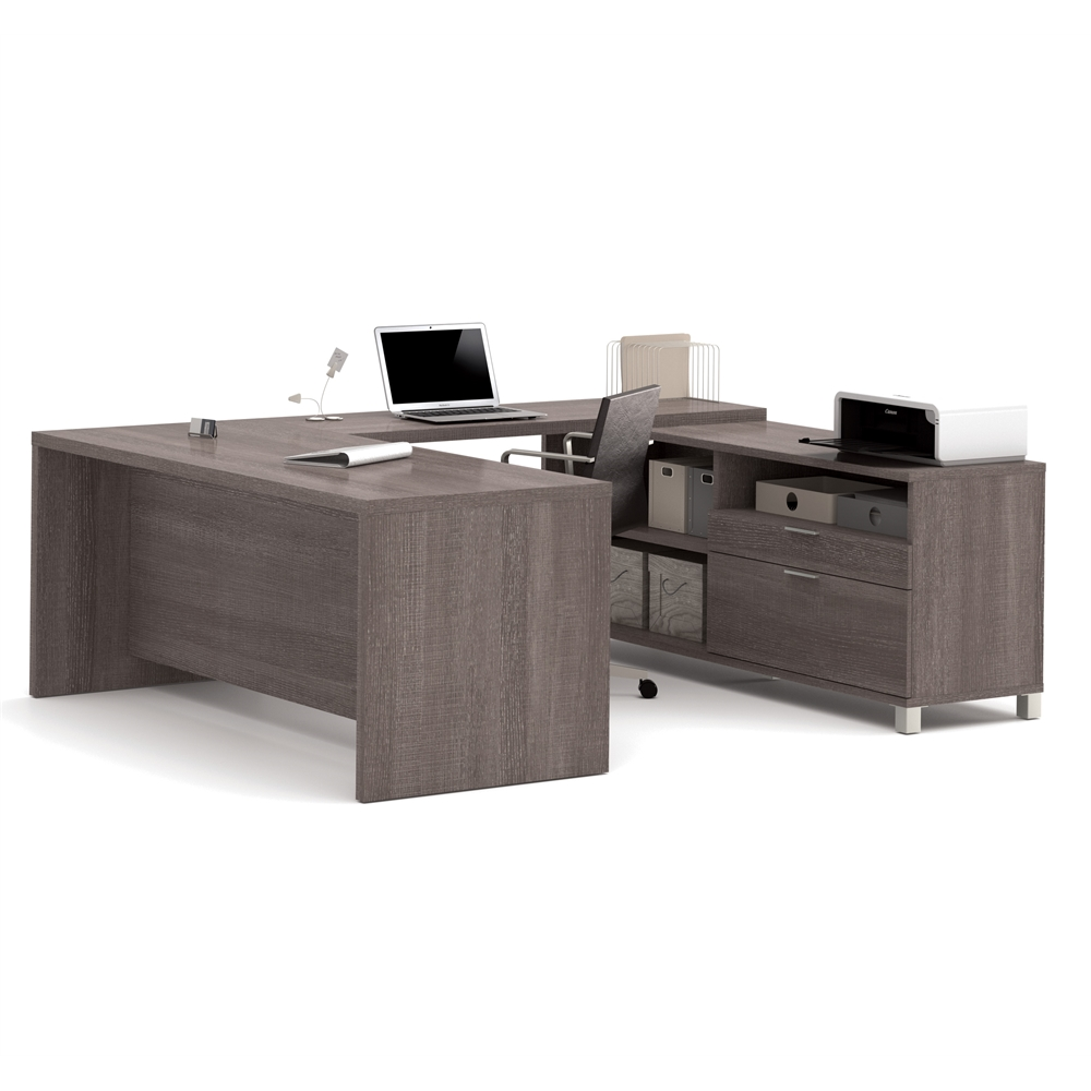 Pro Linea U Desk In Bark Gray