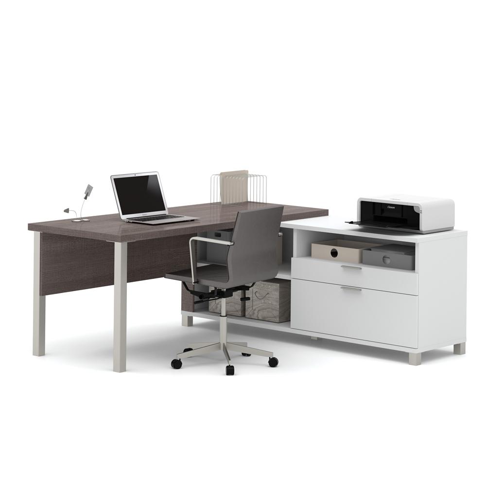 Pro-Linea L-Desk in White & Bark Gray. Picture 1