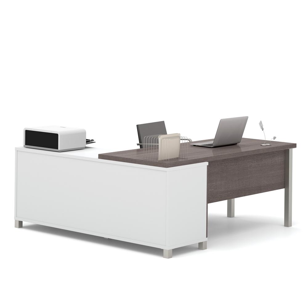 Pro-Linea L-Desk in White & Bark Gray. Picture 2