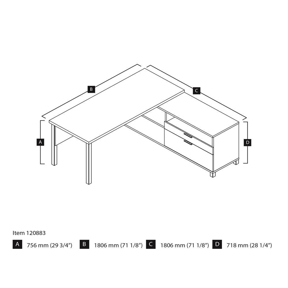 Pro-Linea L-Desk in White & Bark Gray. Picture 3