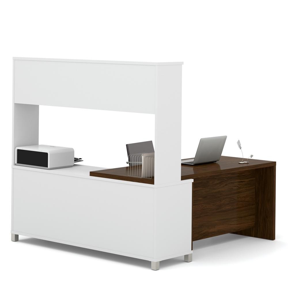 Pro Linea L Desk With Hutch In White Amp Oak Barrel