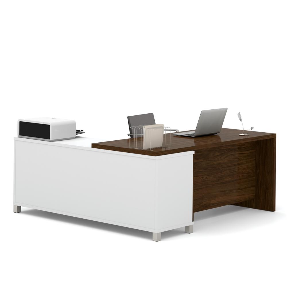Pro Linea L Desk In White Amp Oak Barrel