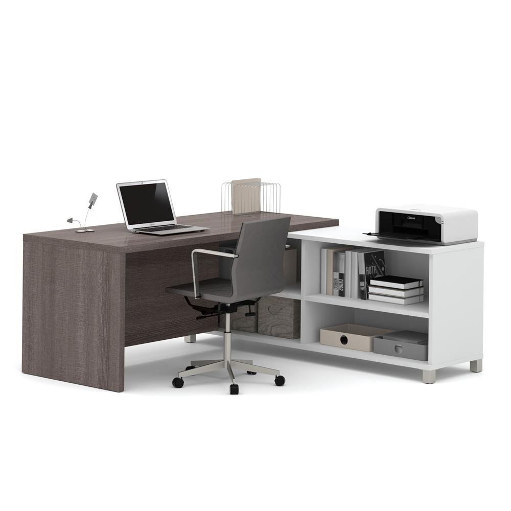 Pro linea l desk in white bark gray - Gray office desk ...