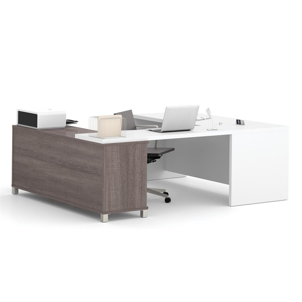 Pro linea u desk in bark gray white - Gray office desk ...