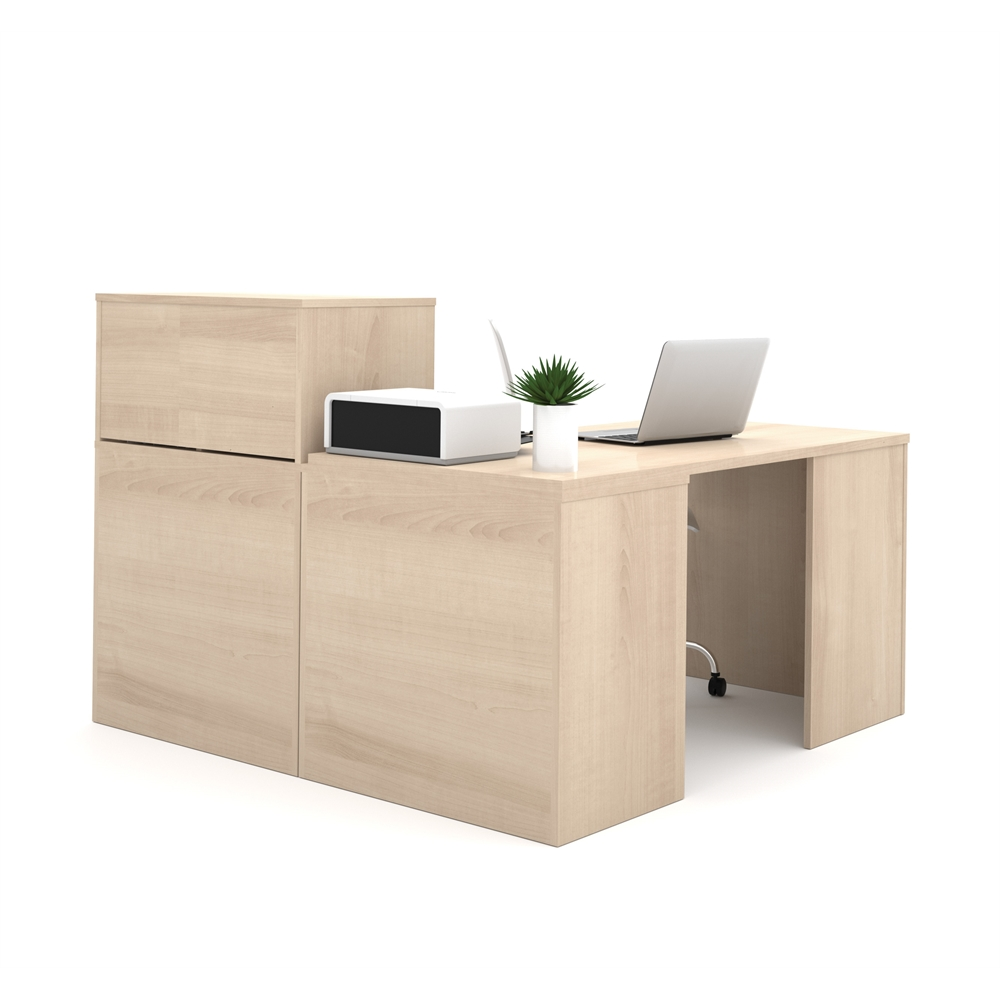 I3 L Shaped Desk In Northern Maple