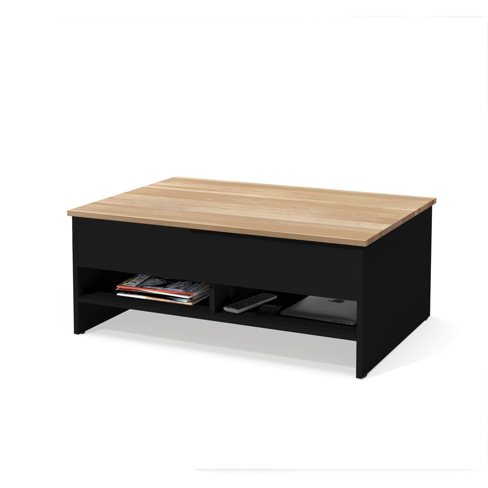 Bestar Small Space 37 Inch Lift Top Storage Coffee Table In Black