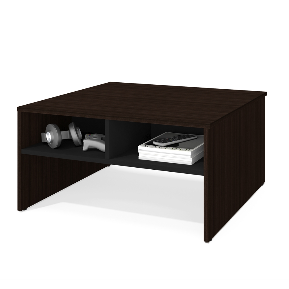Bestar Small Space 29 5 Inch Storage Coffee Table In Dark Chocolate And Black