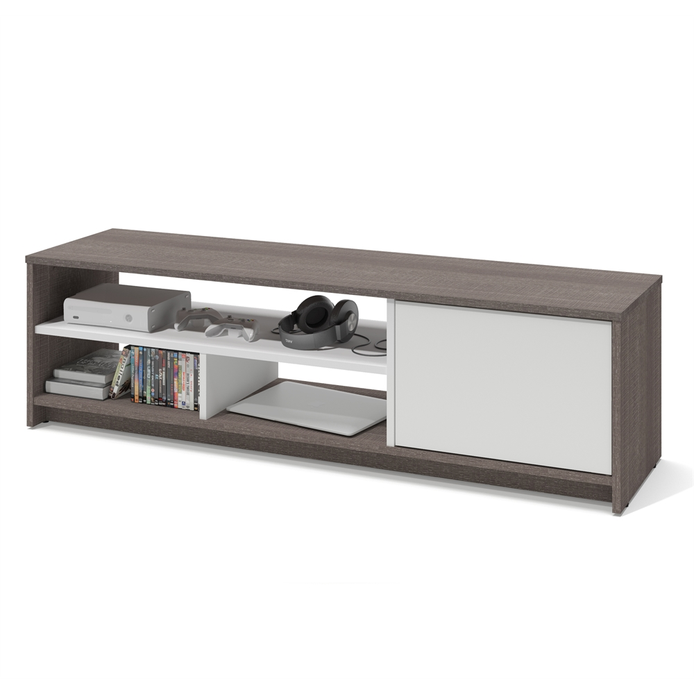 Bestar Small Space 53 5 Inch Tv Stand In Bark Gray And White