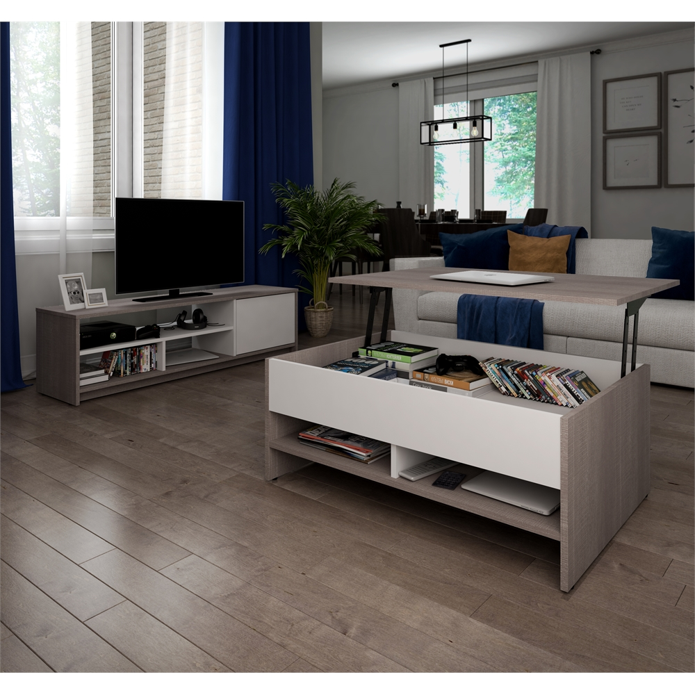 small space 2-piece lift-top storage coffee table and tv stand set