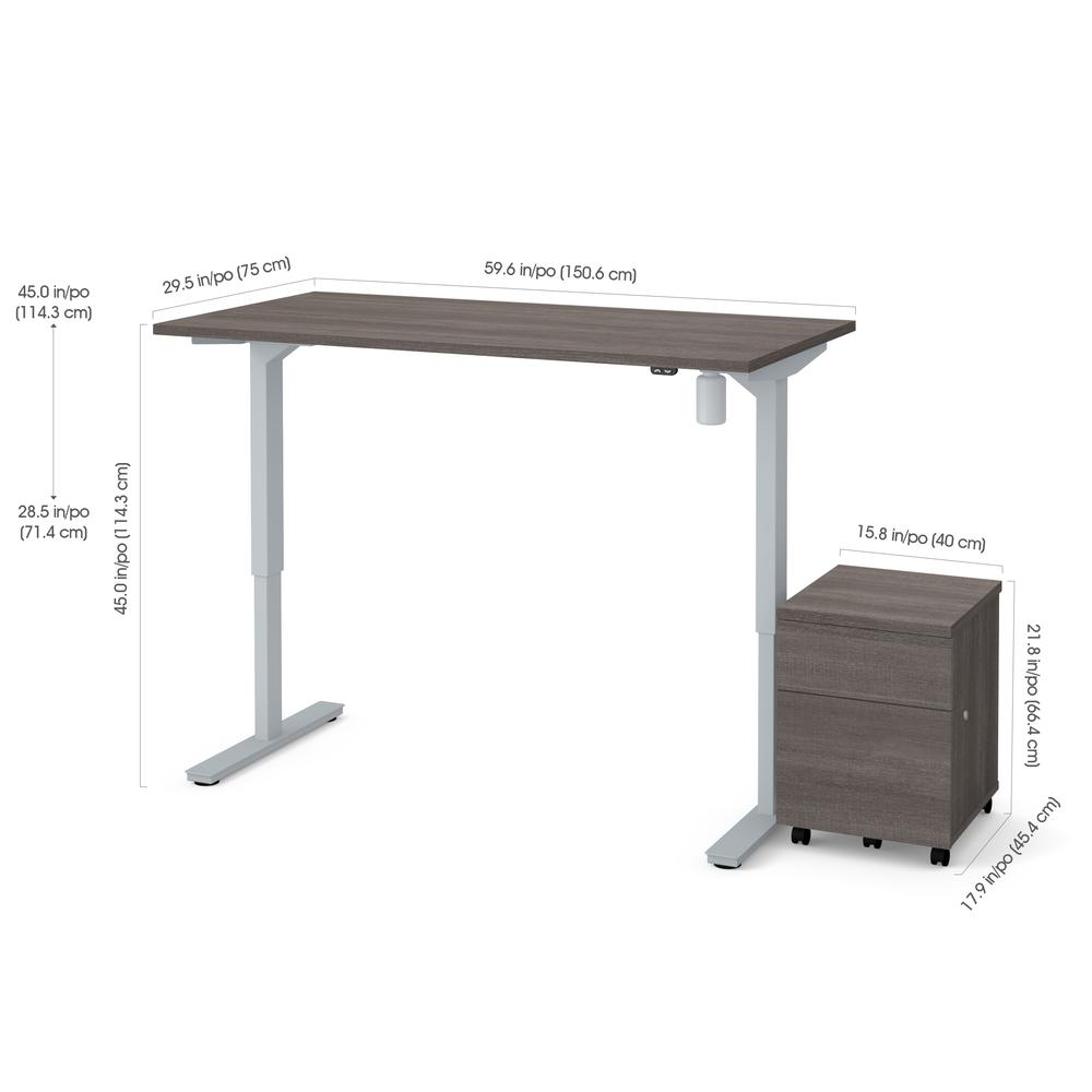 Bestar 2 Piece 30 Quot X 60 Quot Electric Height Adjustable Table