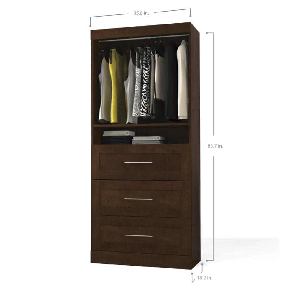 Pur 36 Quot Storage Unit With 3 Drawer Set In Chocolate