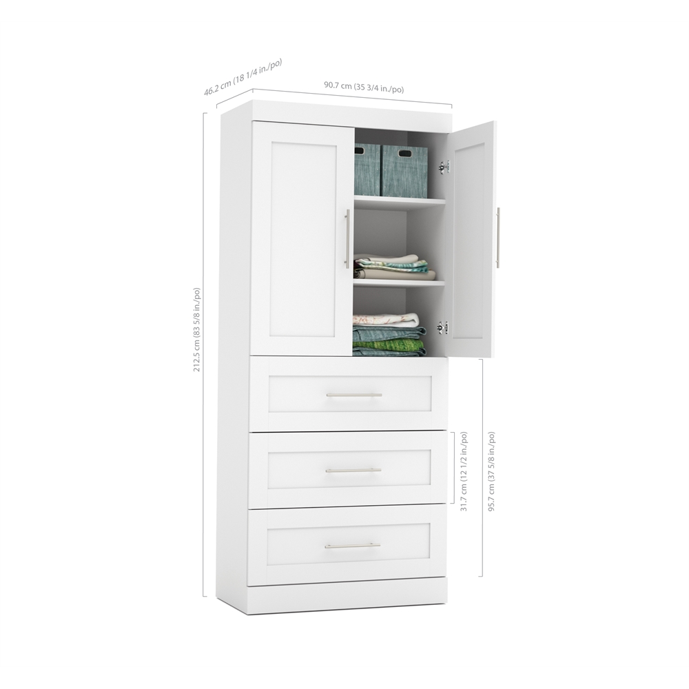 pur 36 storage unit with 3 drawer set and doors in white. Black Bedroom Furniture Sets. Home Design Ideas
