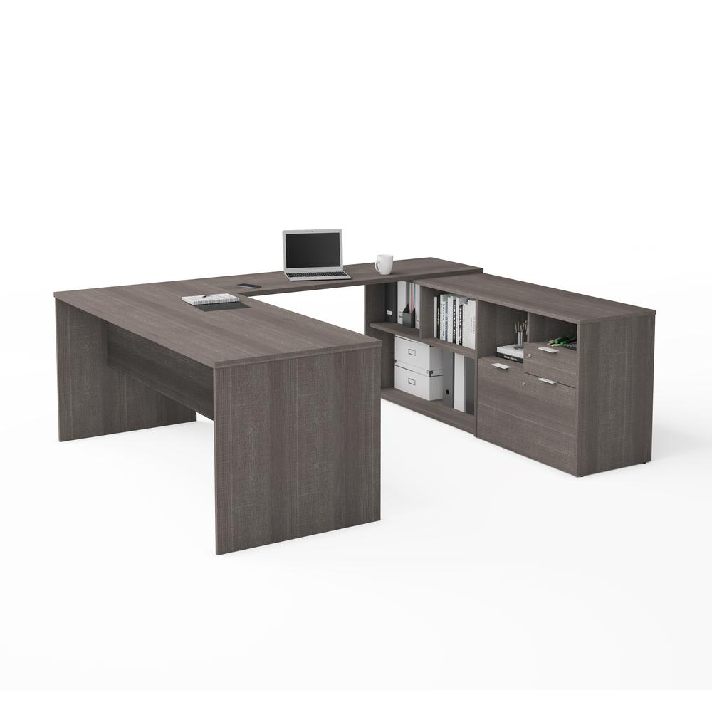 i3 Plus U-Desk with Two Drawers in Bark Gray