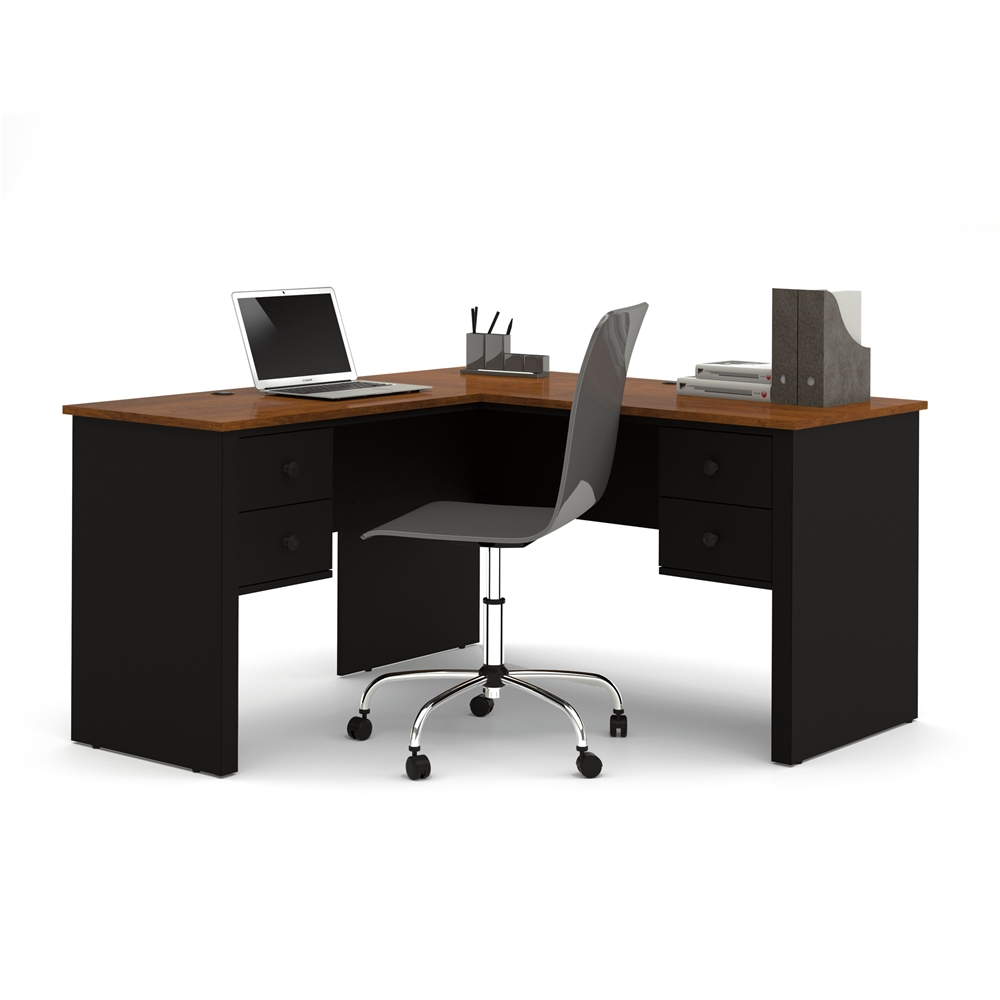 Somerville L Shaped Desk In Black Amp Tuscany Brown