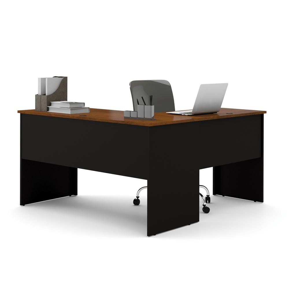 Somerville L Shaped Desk In Black Amp Tuscany Brown