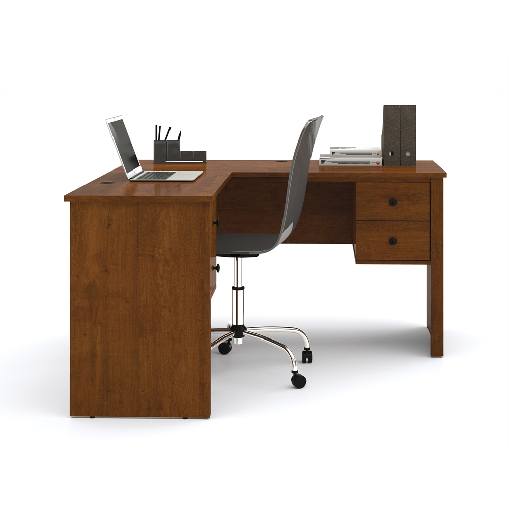 Somerville L Shaped Desk In Tuscany Brown