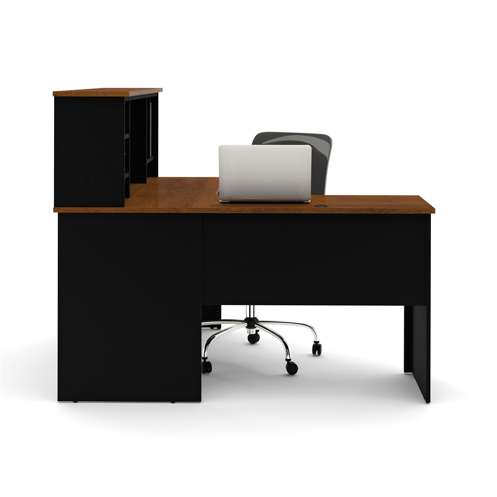 Somerville L Shaped Desk With Hutch In Black Amp Tuscany Brown