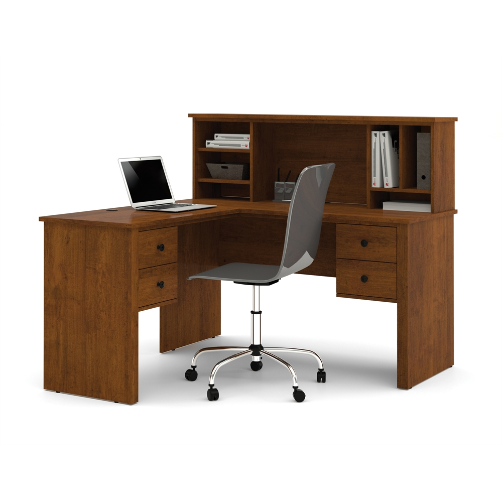 Somerville L Shaped Desk With Hutch In Tuscany Brown