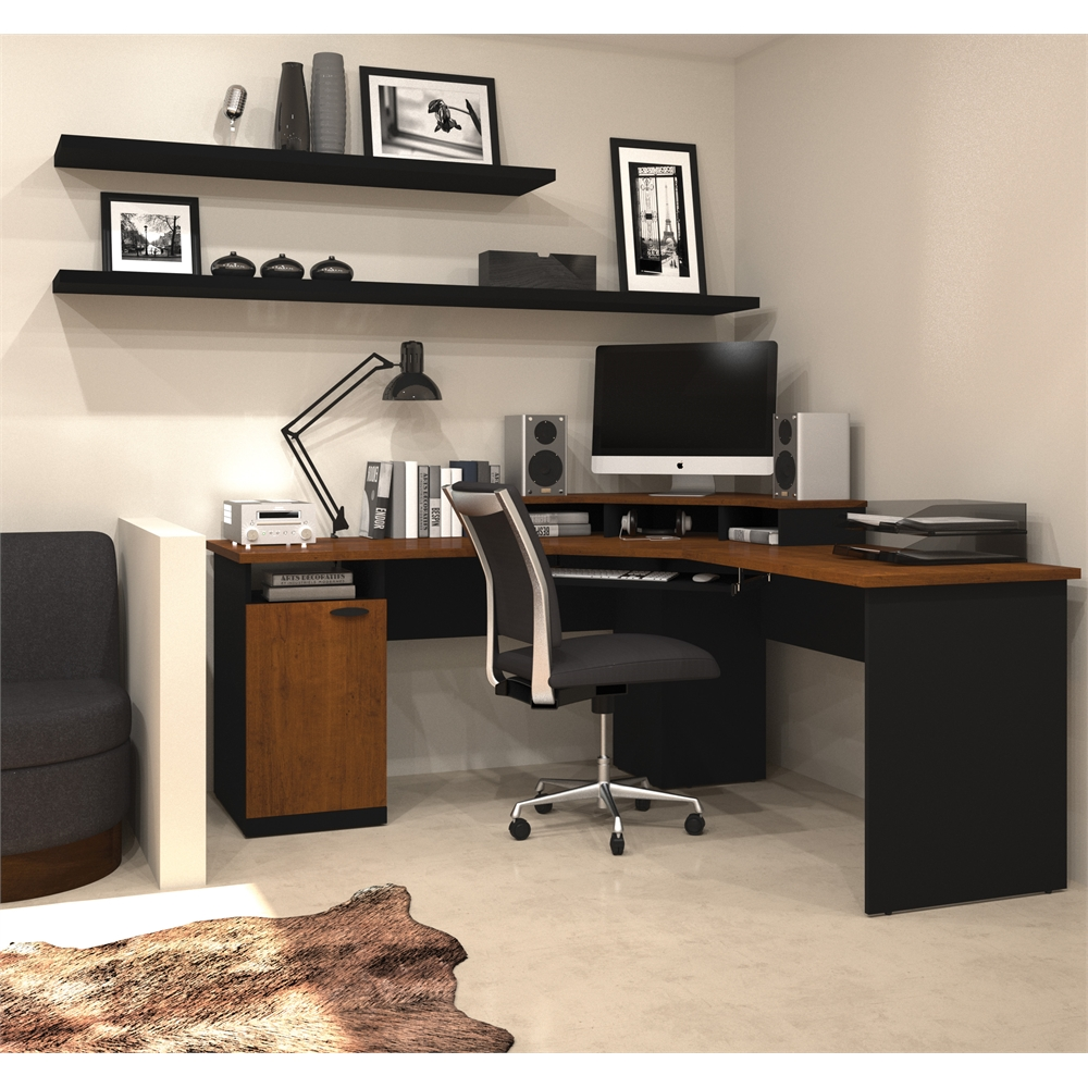 Hampton Corner Workstation In Tuscany Brown Amp Black