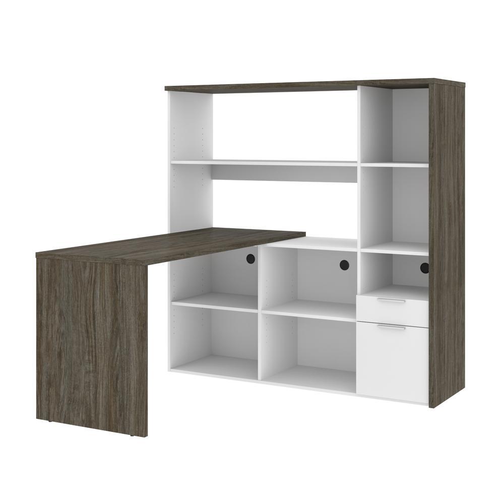 Bestar Gemma L-Shaped Desk - Walnut Grey & White. Picture 2