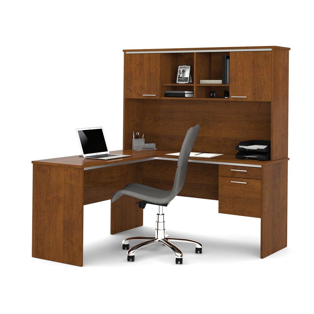 Flare L Shaped Workstation In Tuscany Brown