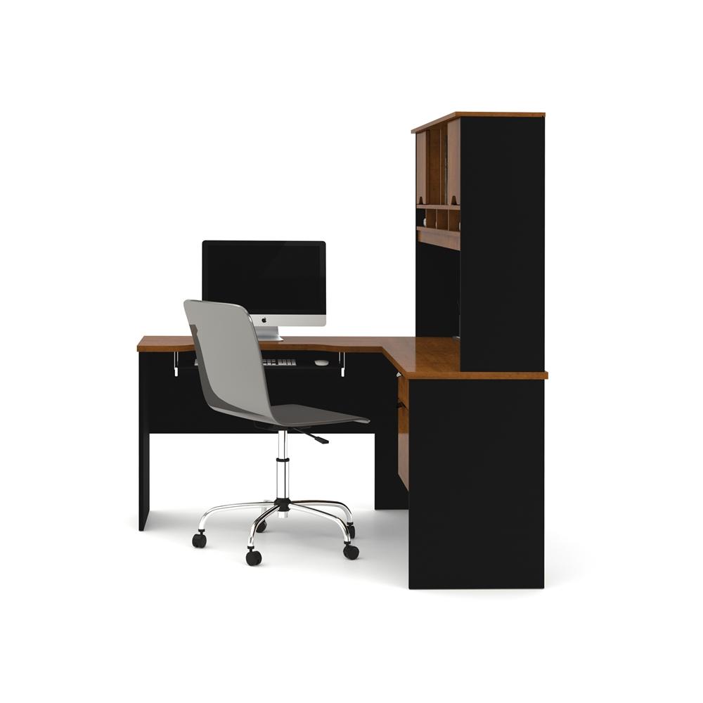 Innova L Shaped Desk In Tuscany Brown Amp Black