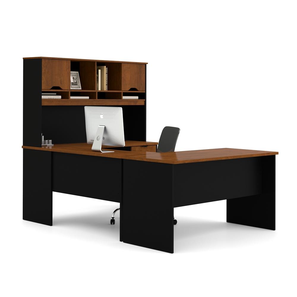 Innova U Shaped Workstation In Tuscany Brown Amp Black