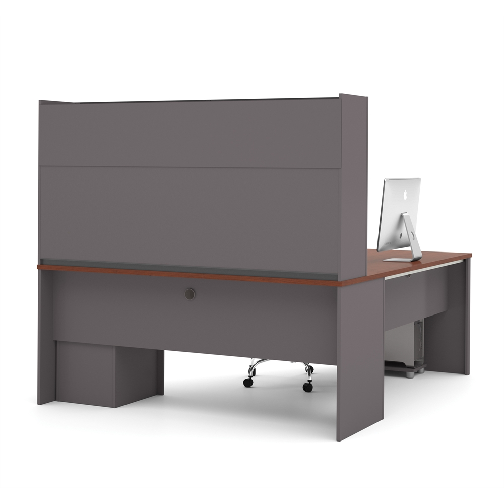 Connexion L Shaped Workstation With Hutch In Bordeaux Amp Slate
