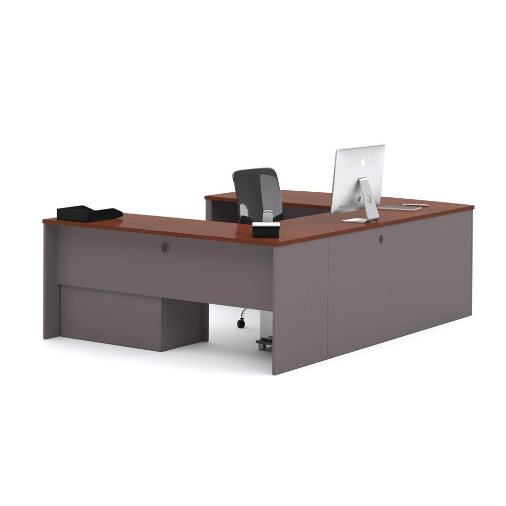 connexion u shaped workstation in bordeaux slate. Black Bedroom Furniture Sets. Home Design Ideas