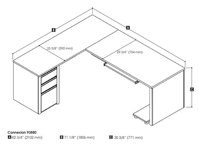 Connexion L-shaped workstation in Slate & Sandstone
