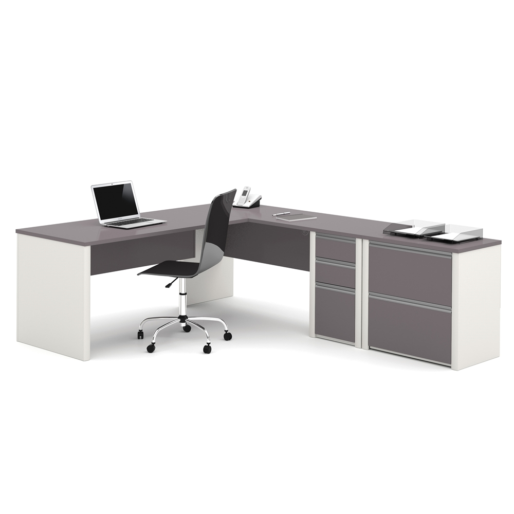 Connexion L Shaped Workstation With Lateral File In Slate