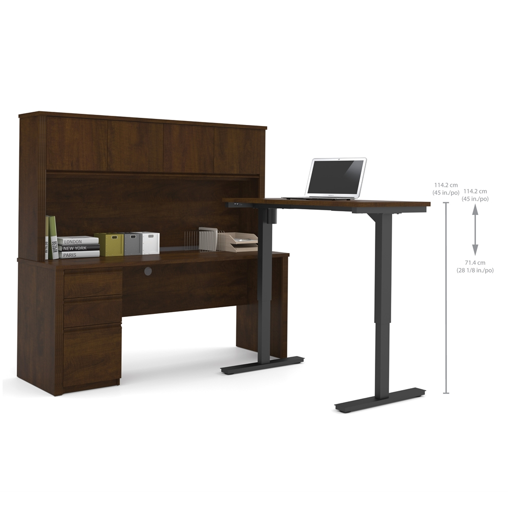 prestige l desk with hutch including electric height adjustable table in chocolate. Black Bedroom Furniture Sets. Home Design Ideas