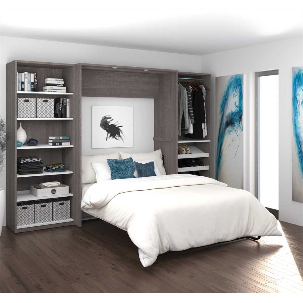 """Classic 118"""" Full Wall Bed kit in Bark Gray and White. Picture 1"""