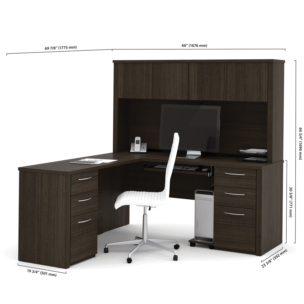 Embassy 66 Quot L Shaped Desk In Dark Chocolate
