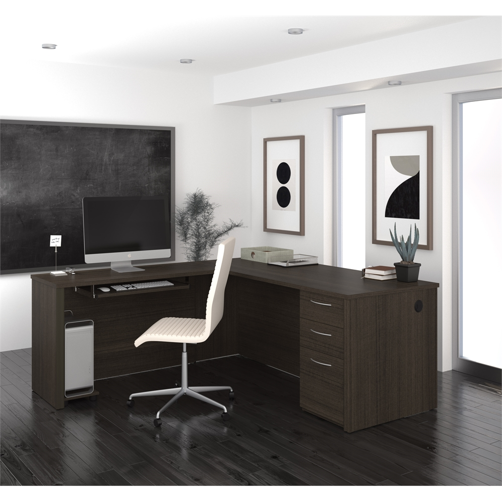 Embassy 71 Quot L Shaped Desk In Dark Chocolate