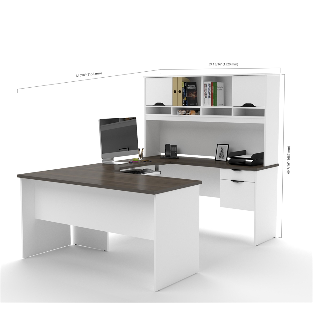 innova ushaped desk with accessories in white and antigua