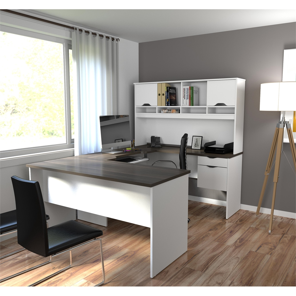 Innova U Shaped Workstation In White And Antigua