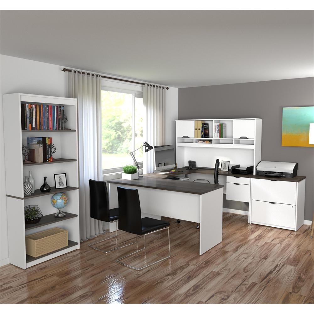 Innova U Shaped Desk With Accessories In White And Antigua