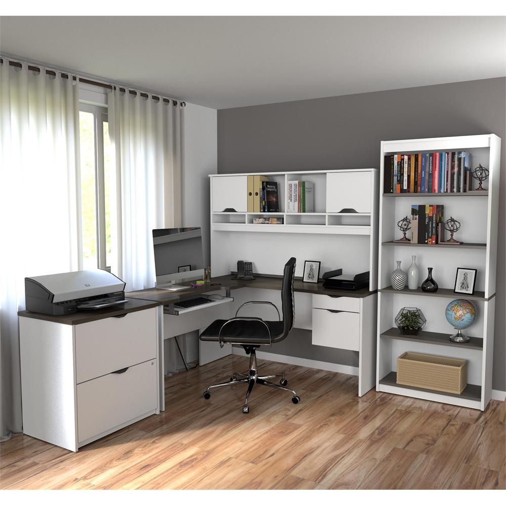 Innova L Shaped Desk With Accessories In White And Antigua