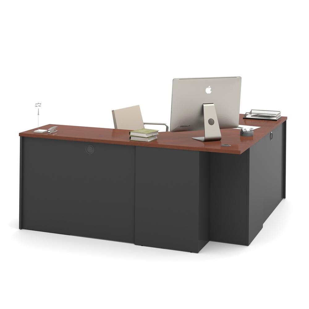 prestige corner desk including one pedestal in bordeaux graphite. Black Bedroom Furniture Sets. Home Design Ideas