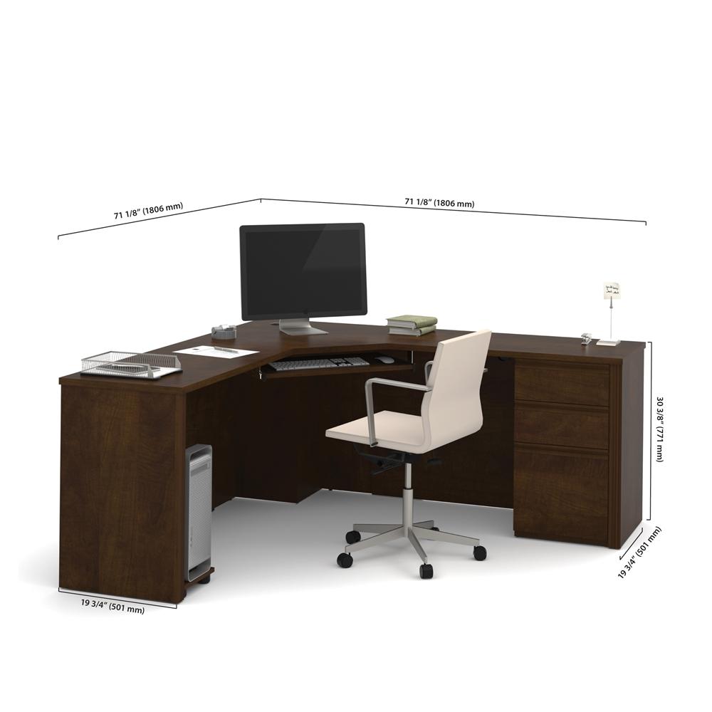 Prestige Corner Desk Including One Pedestal In Chocolate