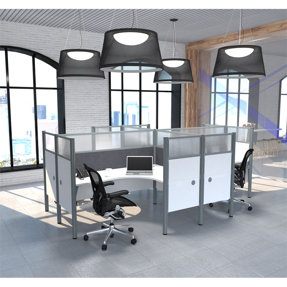 Pro Biz Four L Desk Workstation In White With Gray Tack Boards