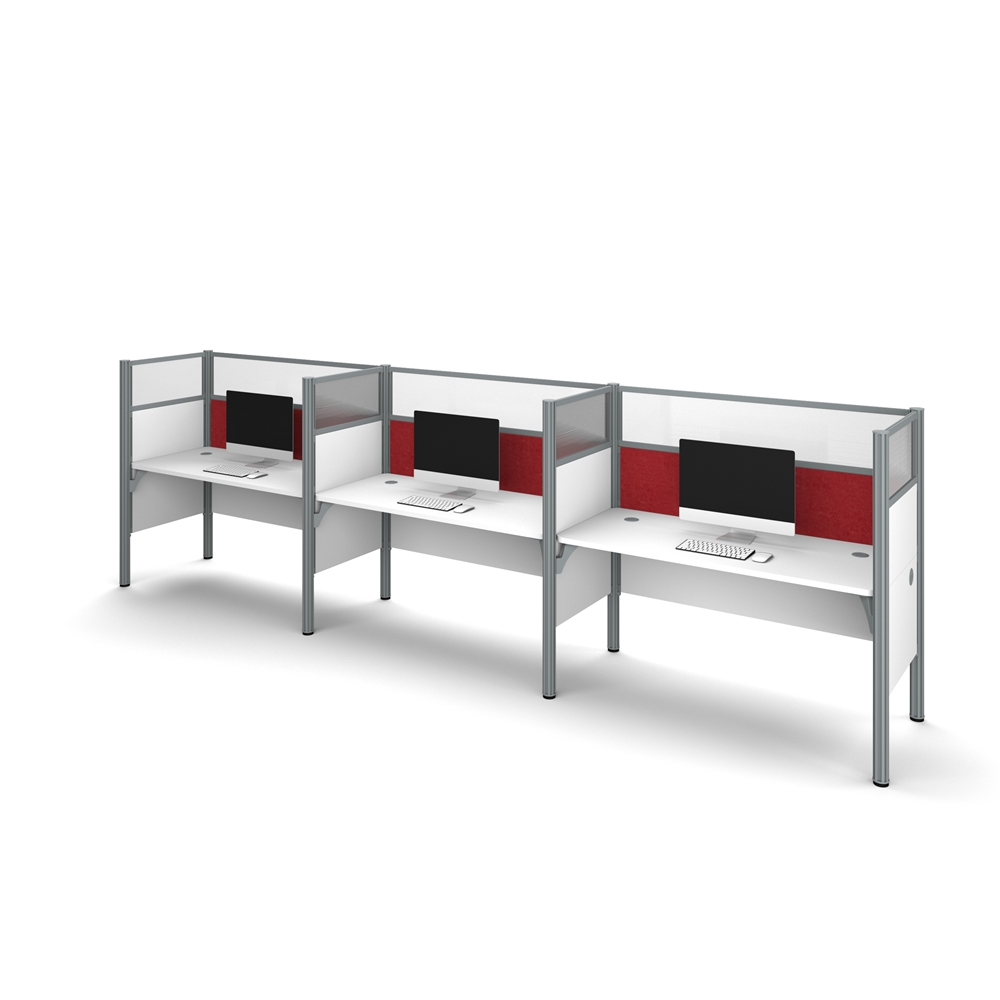 Pro Biz Triple Side By Side Workstation In White With Red