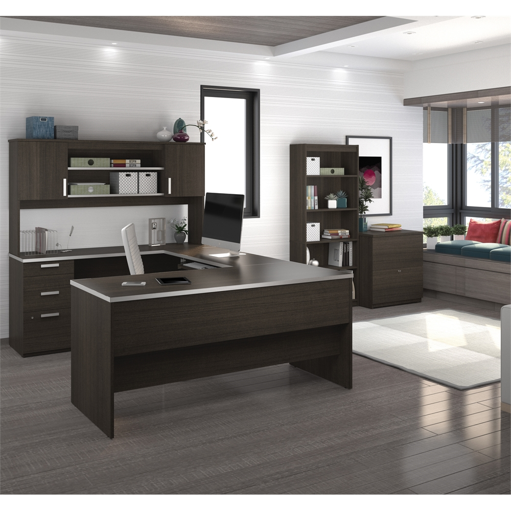 Ridgeley U-shaped Desk with lateral file and bookcase in
