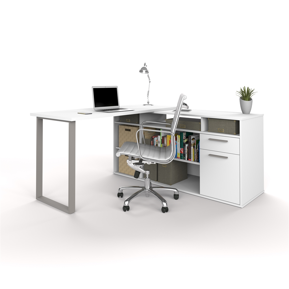 Solay l shaped desk in white White l shaped desk