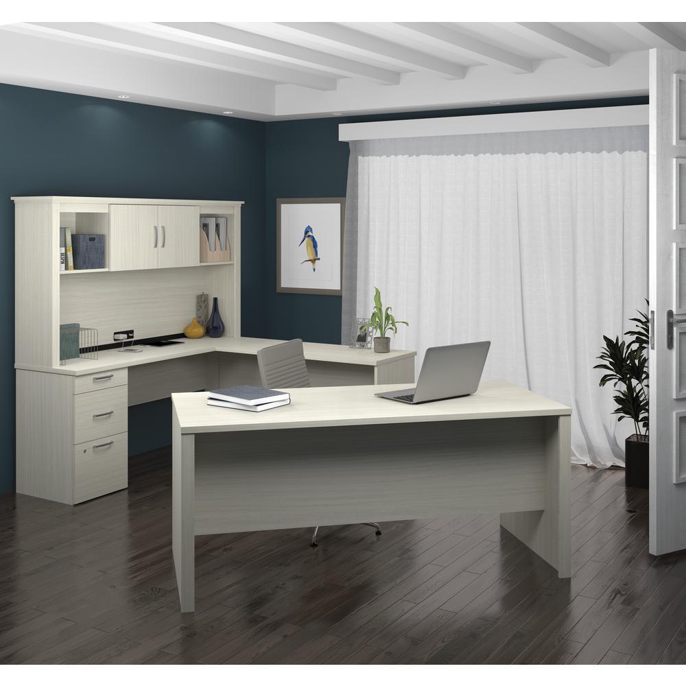 Logan U-Shaped Desk in White Chocolate