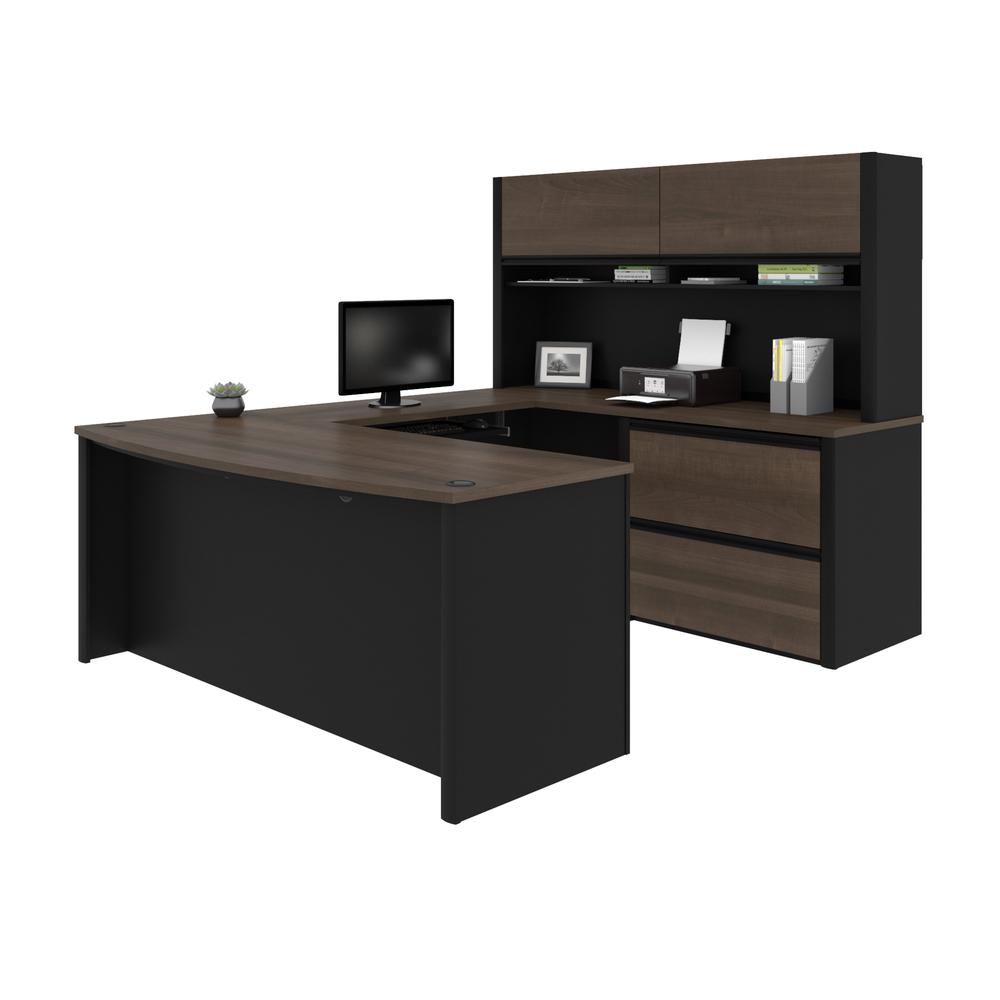 Connexion U-shaped workstation in Antigua & Black. Picture 1